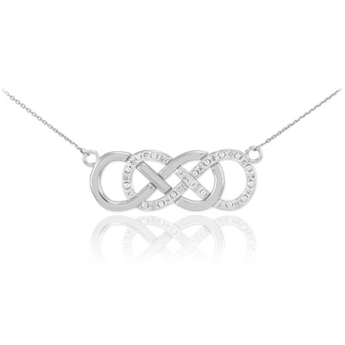 14k white gold diamond double infinity necklace aloadofball Image collections