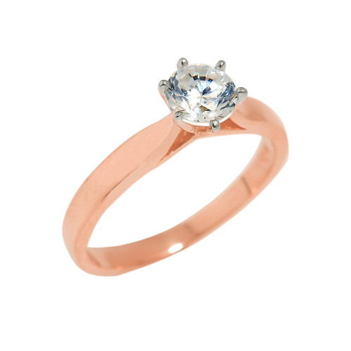 Solid Rose Gold Cubic Zirconia Engagement Ring