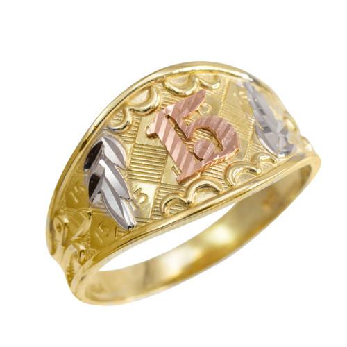Gold Diamond Cut Quot 15 Anos Quot Quinceanera Ring