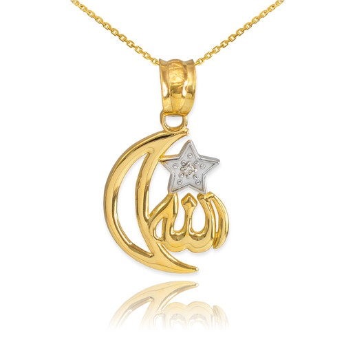 Gold diamond crescent moon allah pendant necklace mozeypictures Choice Image