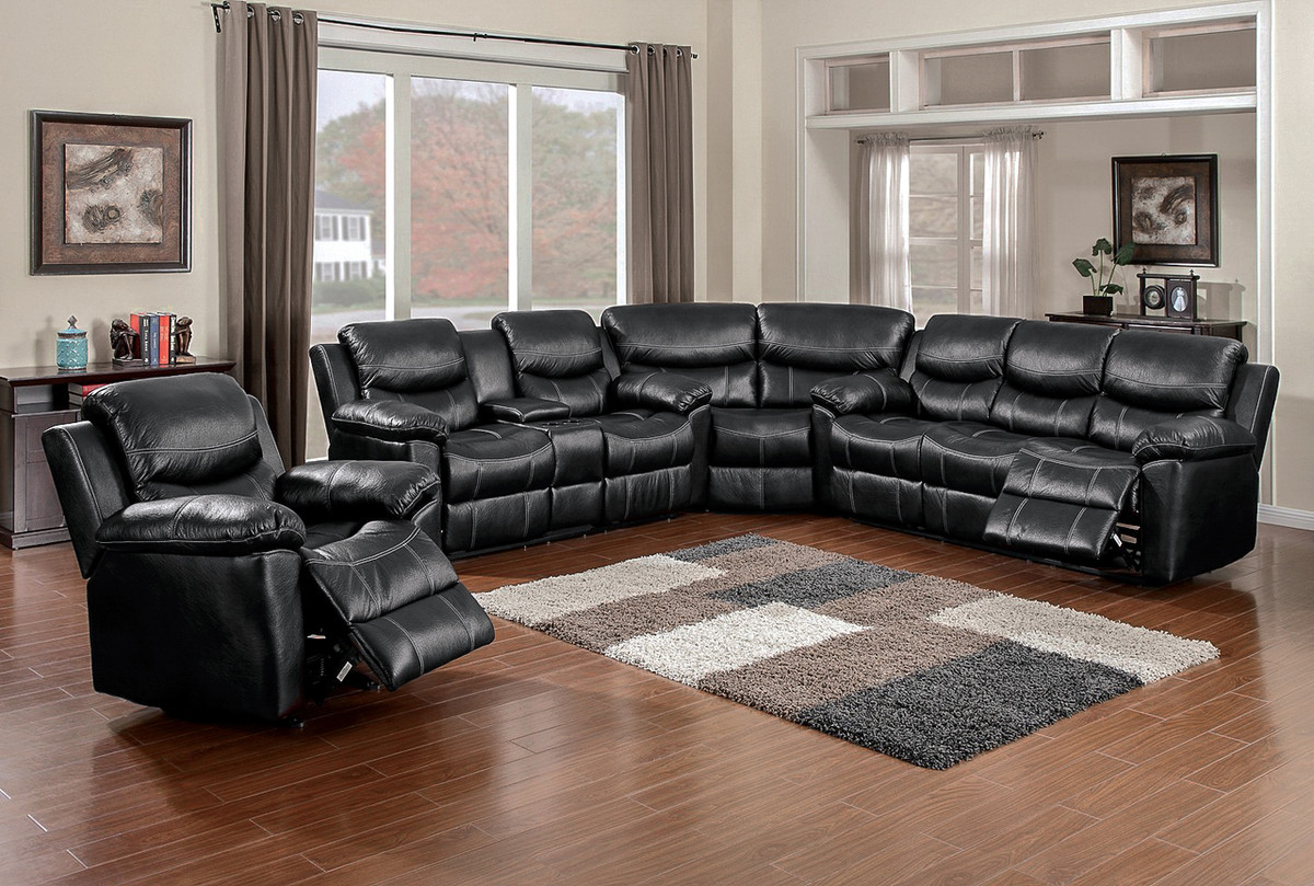 Black Faux Leather Reclining 3 Piece Sectional - Luxury ...