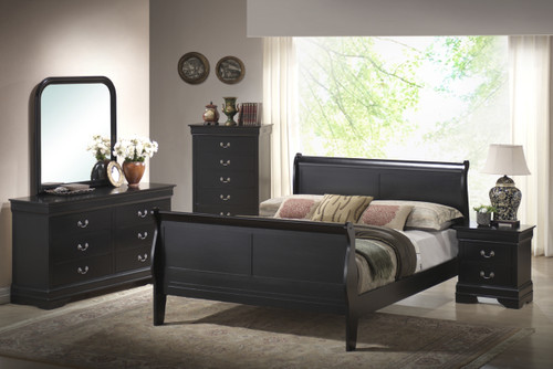 Black Louis Sleigh Bedroom