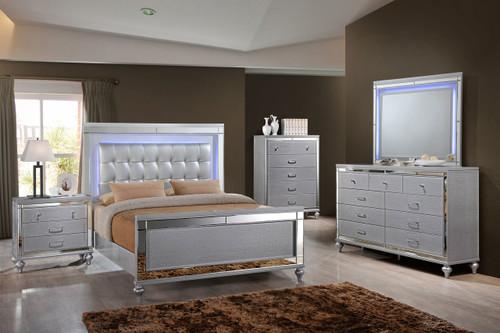 Valentine Silver Lighted Bedroom