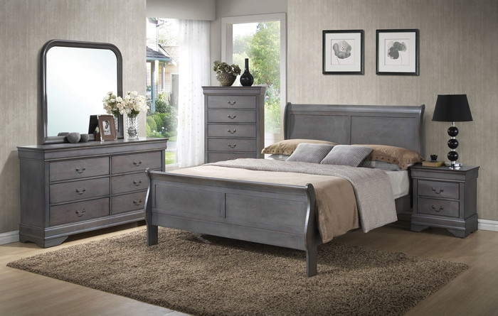 Grey Louis Sleigh Bedroom