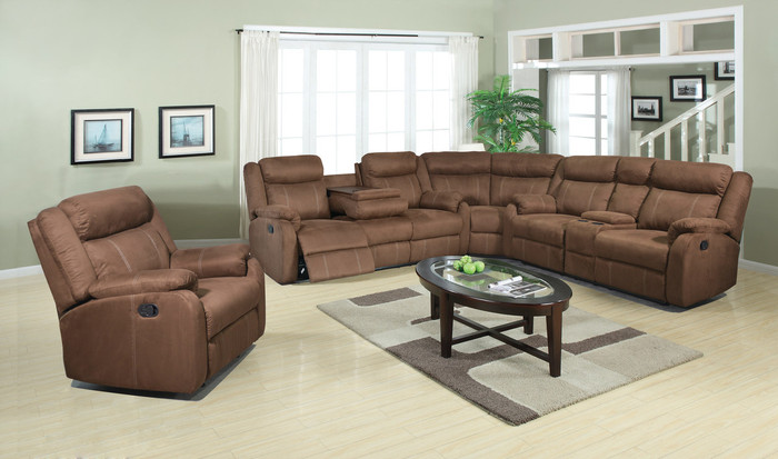 Light Chocolate Reclining 3 Piece Sectional