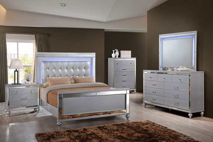 Valentino Silver Lighted Bedroom