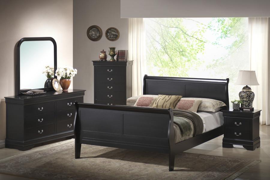 Black Louis Sleigh Bedroom