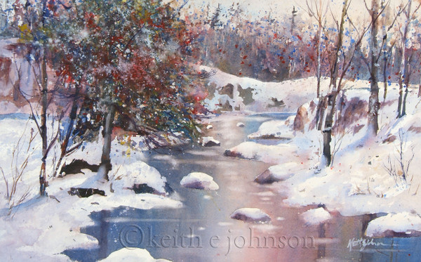 """Winter River"" Original Watercolor"