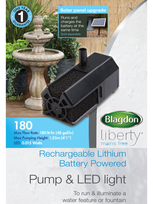 Blagdon Liberty 180 Mains Free Pump and Led Light without Solar Panel