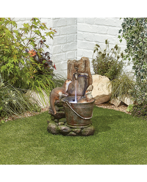Kelkay Playful Otters Water Feature With LED Lighting