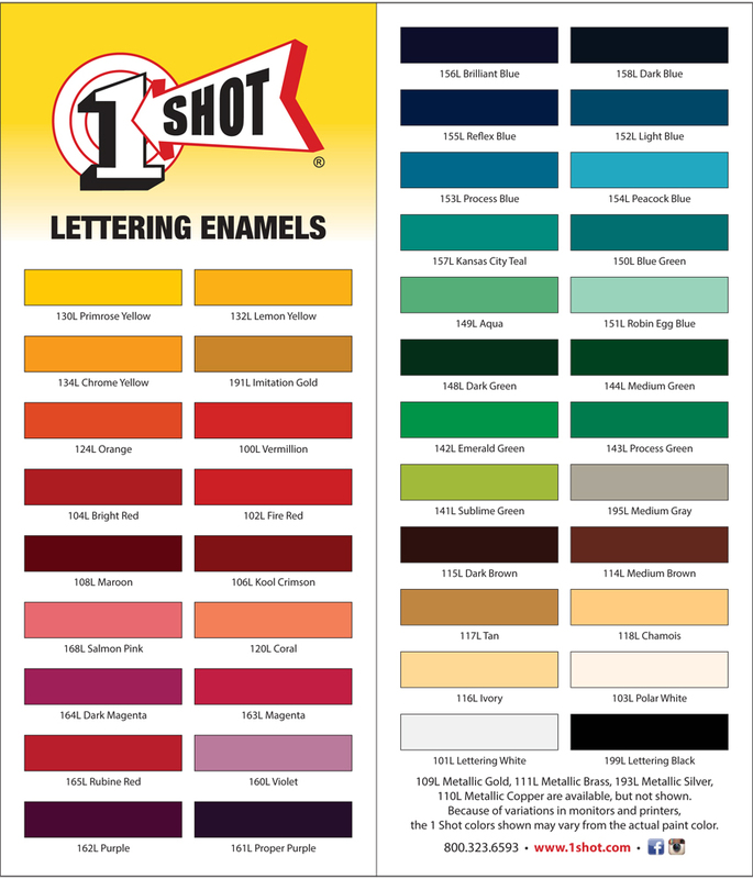 One shot lettering enamels southern paint amp supply co one shot lettering enamels one shot color card publicscrutiny Choice Image