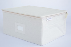 Large Canvas Box with Zipper Lid in Oatmeal
