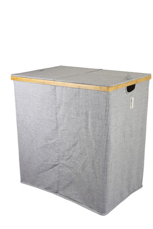 Bamboo and Twill Hamper (2 compartments)