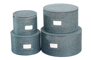 Teal Twill Hard-Shell Plates Protector (Set of 4)