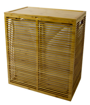 Bamboo Hamper with Open Slats and Removable Canvas Liner