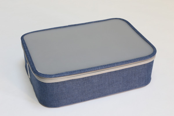 Blue Twill 12-Section Organizer with Lid (Semi-Transparent lid)