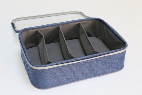 Blue Twill 4-Section Organizer with Lid (Semi-Transparent lid)