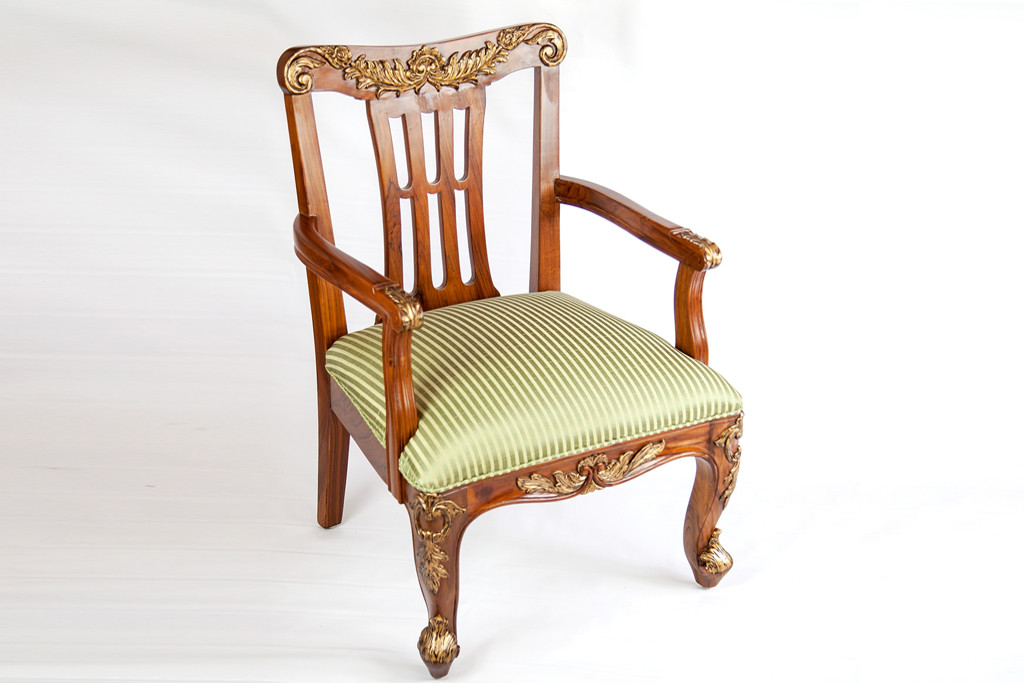 Click here to enlarge  sc 1 st  The Silver Teak & Teak Furniture - Chairs u0026 Ottomans - Classic Queenu0027s Chair