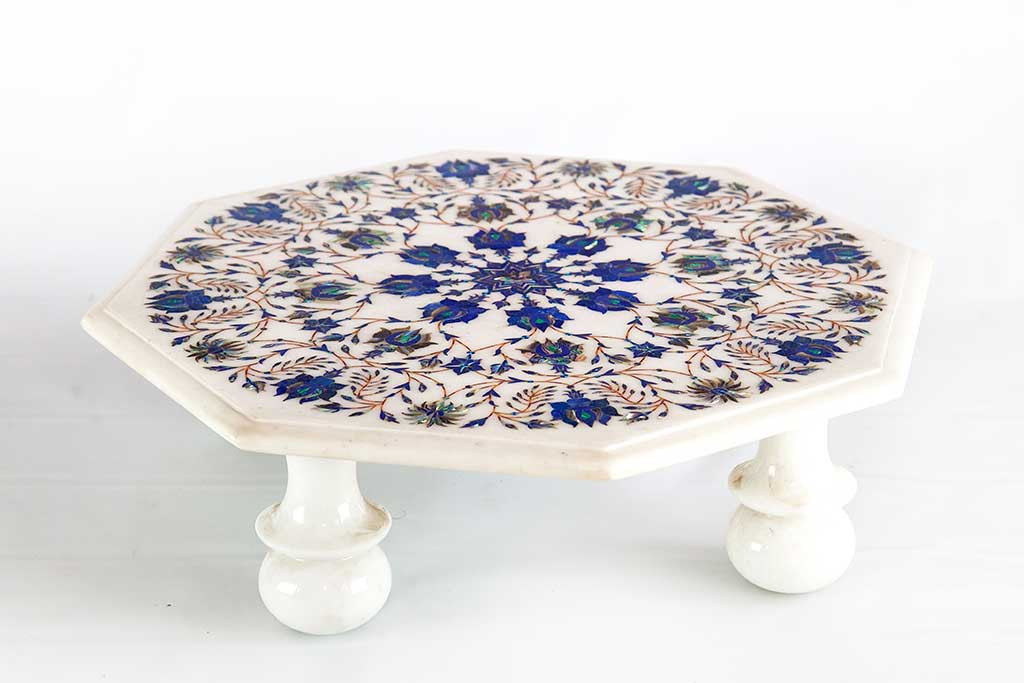 Well known Marble Accents - Chowki, Traditional Indian Pedestal with Marble Inlay BA13