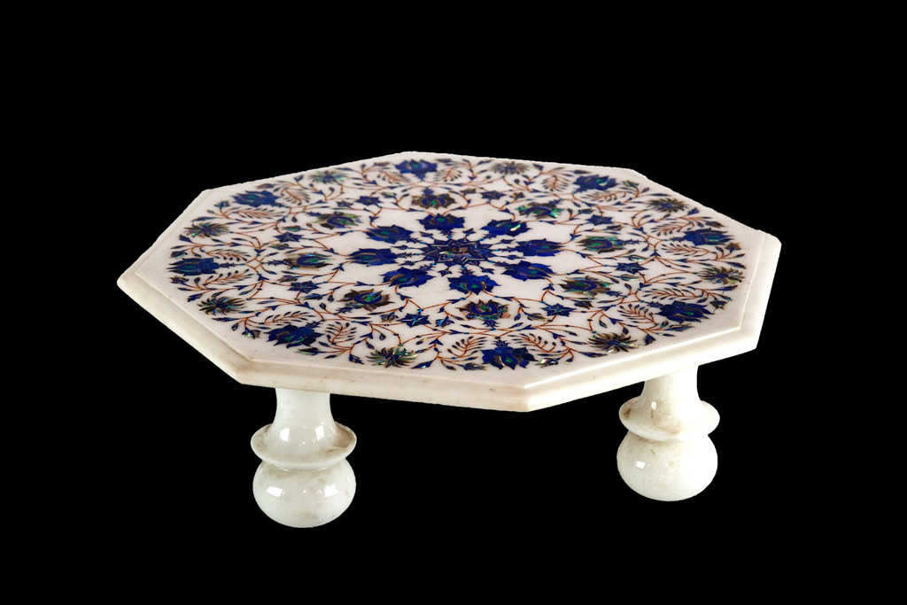 Brand-new Marble Accents - Chowki, Traditional Indian Pedestal with Marble Inlay XL52