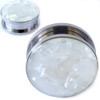 Organic Mother Of Pearl Stainless Steel Screw Back Ear Plugs