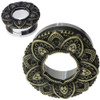 Stainless Steel with Brass Ornate Flower Tunnel Screw Back  Ear Gauges