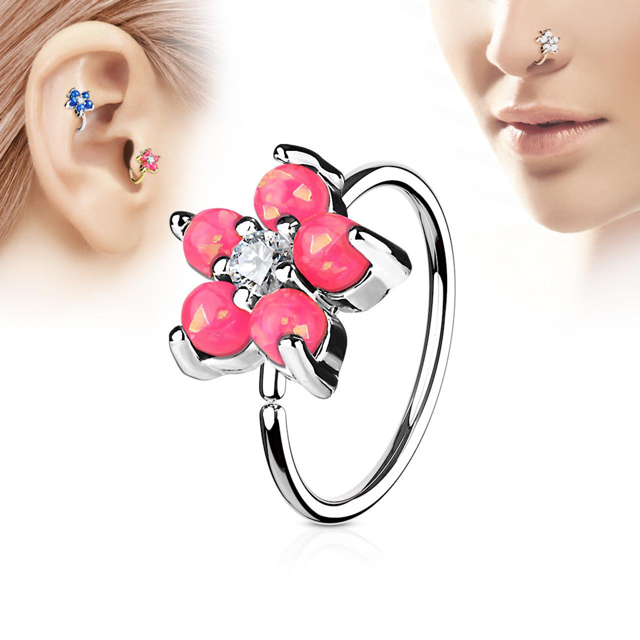 Pink Opal Glitter Set Flower Petals Cz Center 316l Surgical Steel