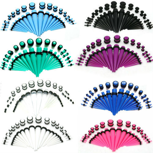 acrylic ear stretching kits 36 pieces tapers O rings and plugs all included