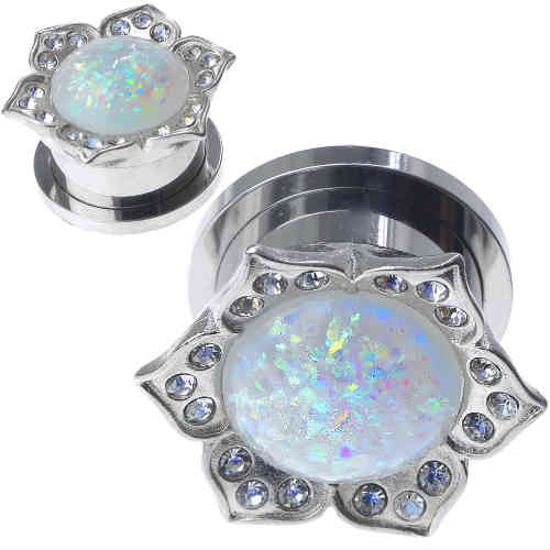 Stainless Steel Gems With Synthetic White Opal center Screw Back Ear Gauges