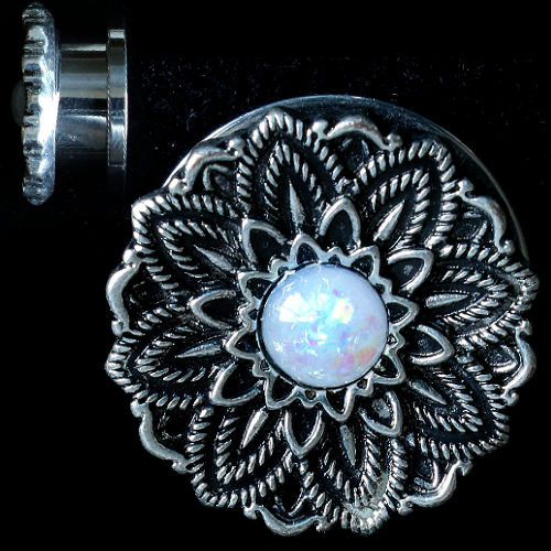 Black and silver flower Stainless Steel Synthetic white Opal center  Screw Back  Ear Gauges sold in pairs
