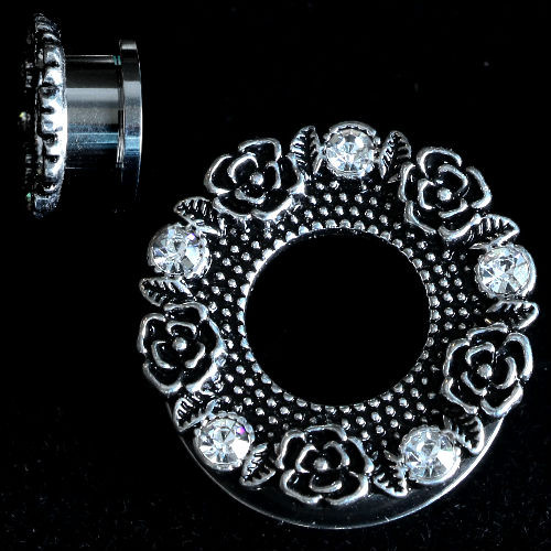 PAIR-Stainless Steel Tunnels W/Rose Buds and CZ Gems-EAR GAUGES-EAR PLUGS