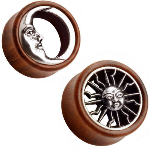 Wood stainless steel moon and Sun   Ear Gauges
