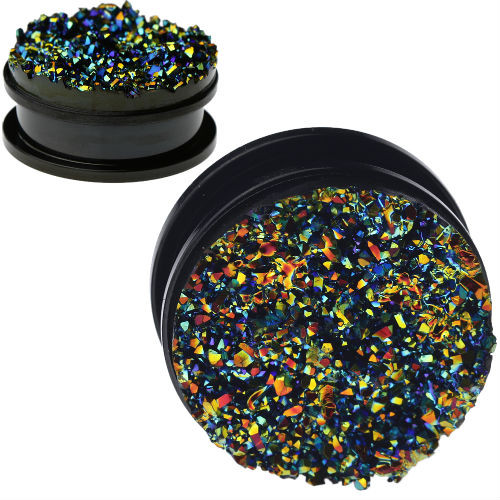 Black Multi Color jagged faced Druzy Stones Screw Black Stainless Steel