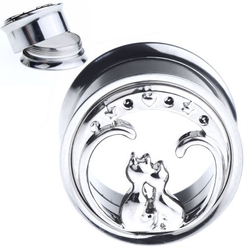 Cat Love Stainless Steel Screw Back  Ear Gauges