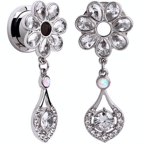 Clear Gem Flower Petal Ear Plug Tunnels  with Opal and  CZ gem Dangle