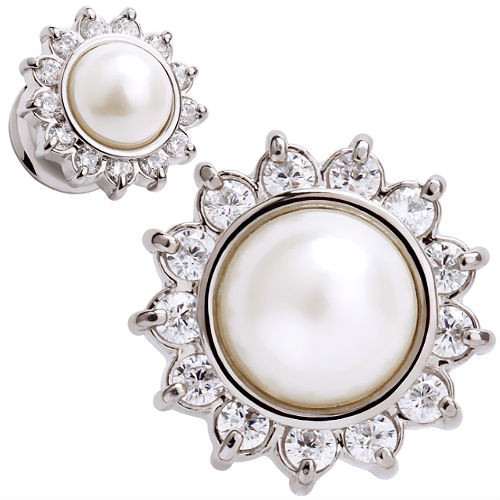 Stainless Steel Pearl Center Double saddle  Ear Gauges with CZ gem burst