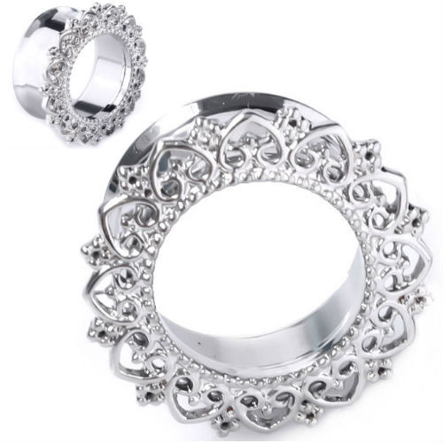 Stainless Steel Tunnels Silver Hearts Flowered Rim double saddle plugs