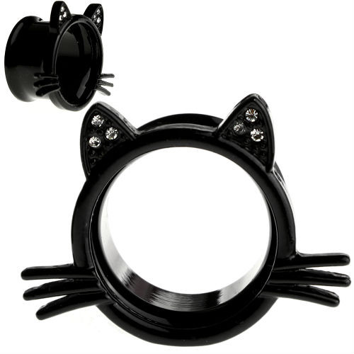 Black  Tunnels  Kitten Whisker and Cubic Zirconia Gem Ears