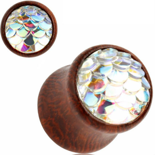 Wood Plugs With White Mermaid scale double saddle ear plugs