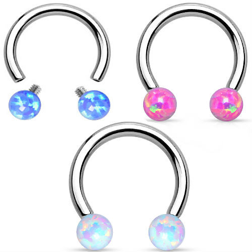 Synthetic Opal Horseshoe 316L Surgical Steel Circular Barbell 16 gauge 8mm circle