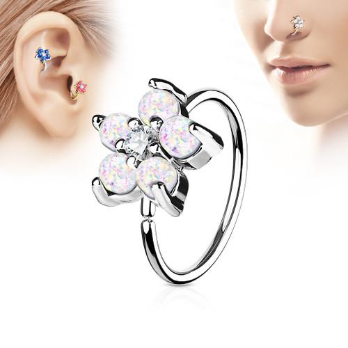 Opal Glitter Set Flower Petals CZ Center 316L Surgical Steel Hoop Ring for Nose & Ear Cartilage