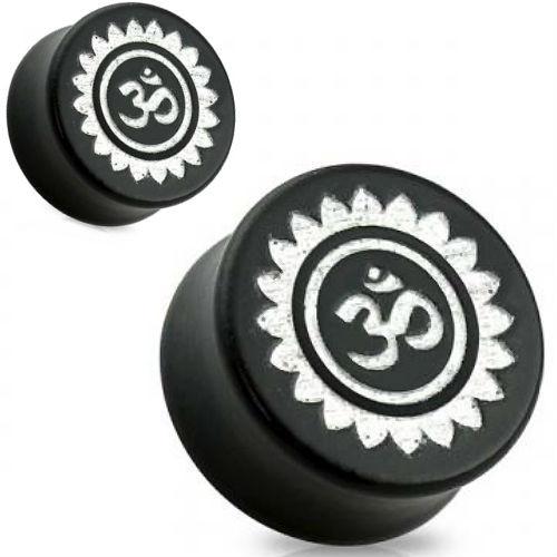Black Wood Hindu OM Silver Foiled  Ear Gauges