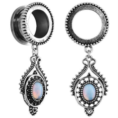 Antiqued Beaded Stainless Steel Opal dangle screw back ear plugs