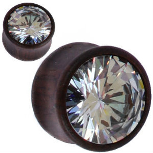 Wood Plugs With Clear CZ GEM double saddle ear plugs