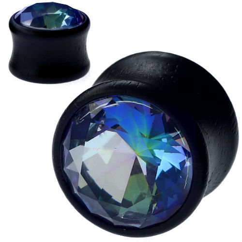Black Wood Plugs With Blue rainbow CZ GEM  double saddle ear plugs