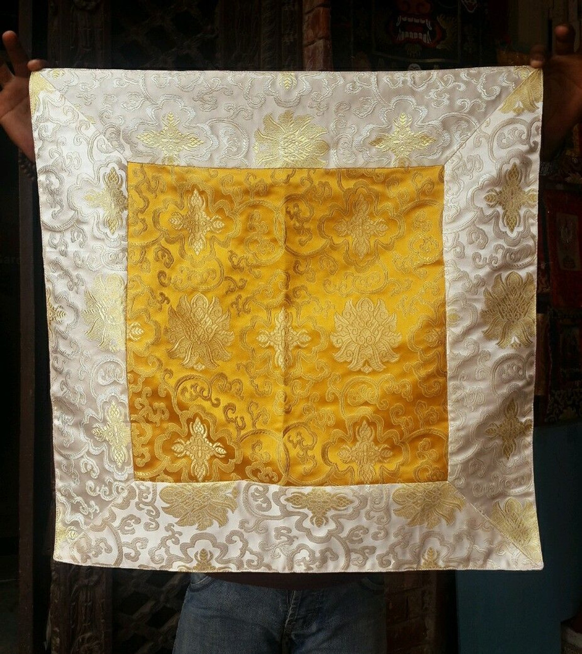 Tibetan silk brocade lotus design altar cloth / table cloth / shrine ...