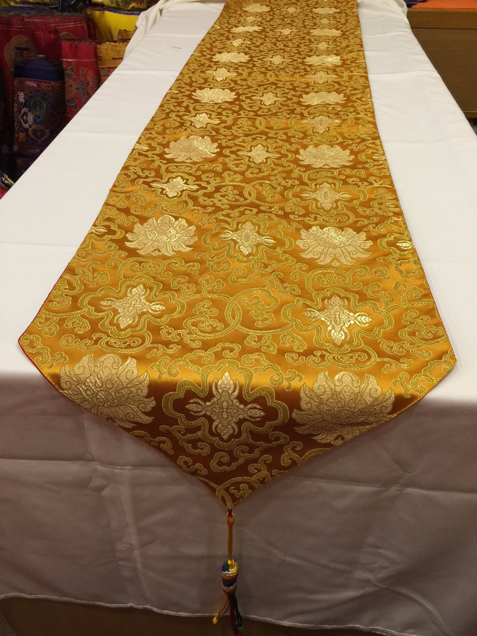 Tibetan Large Size Silk Brocade Orange Lotus Design Shrine Table Runner /  Table Cloth / With Colourful Blessed Tassels