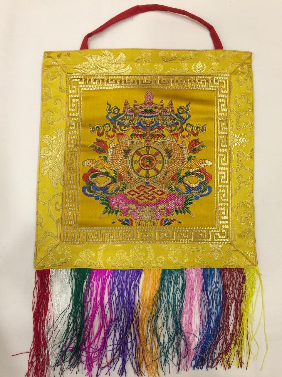 Tibetan buddhist yelllow 8 auspicious symbol wall hanging / banner ...
