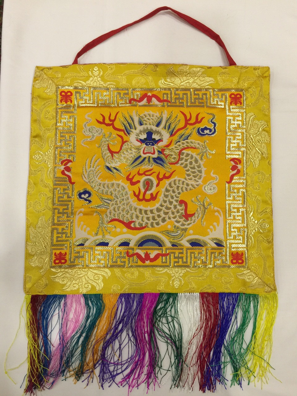 buddhist yellow protector dragon wall hanging / banner / thangka