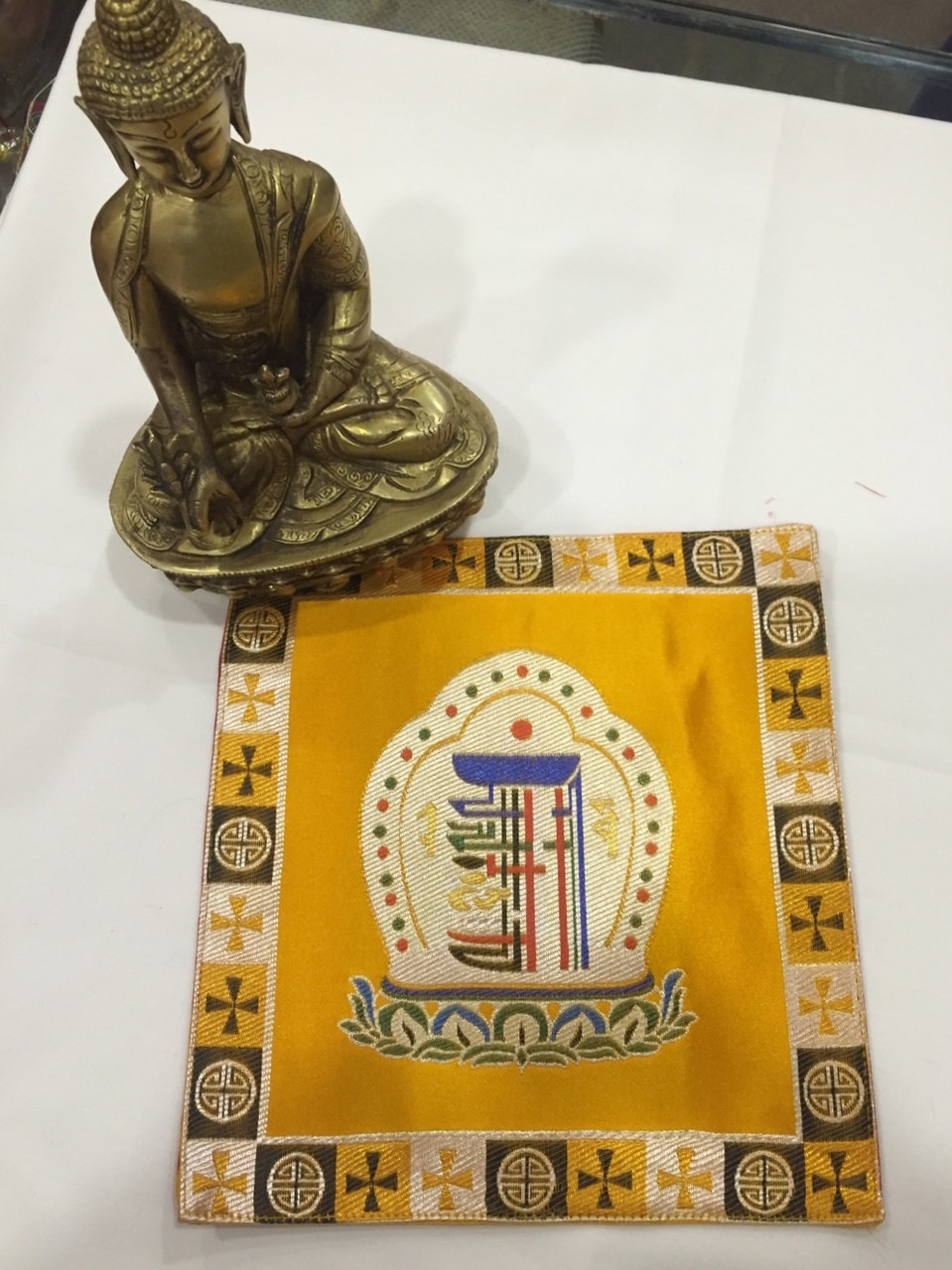 buddhist silk brocade yellow kalachakra placemat / table cover ...